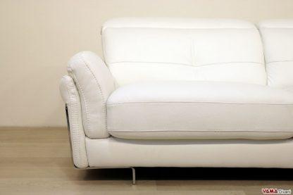 Bracciolo con seduta in pelle bianca