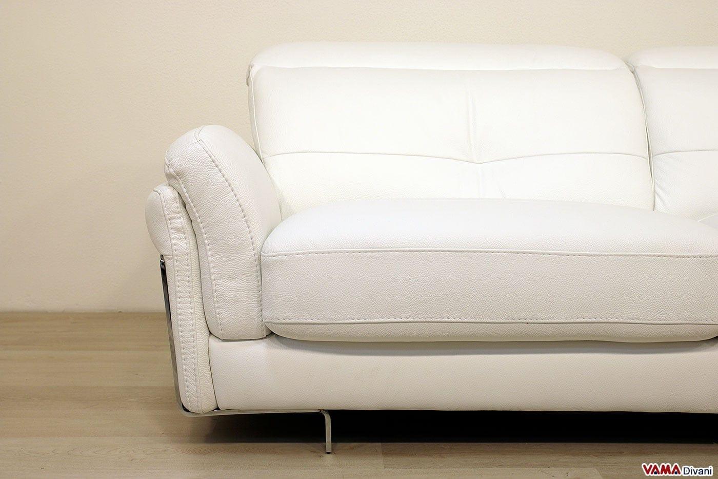 Divano in pelle moderno con poggiatesta per maggiore comfort - Divano bianco in pelle ...