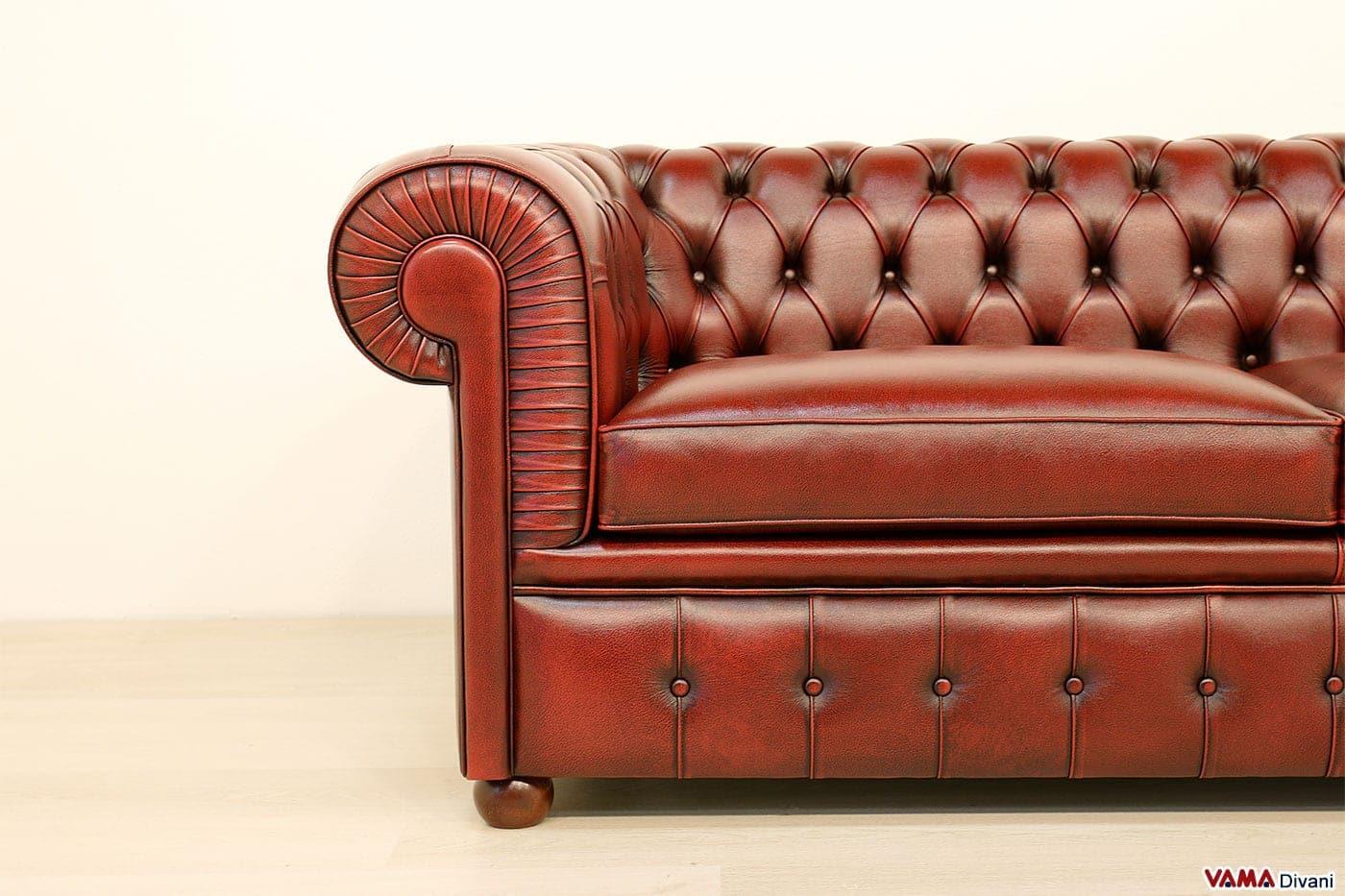 Divano chesterfield 2 posti maxi due cuscini large - Divano rosso pelle ...