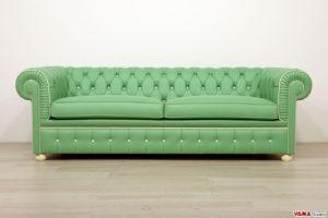 Divano chesterfield verde bicolore