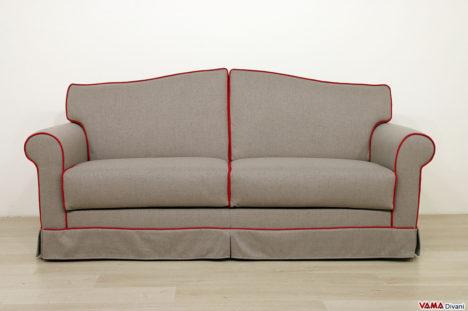 Divano letto classico in tessuto grigio e rosso