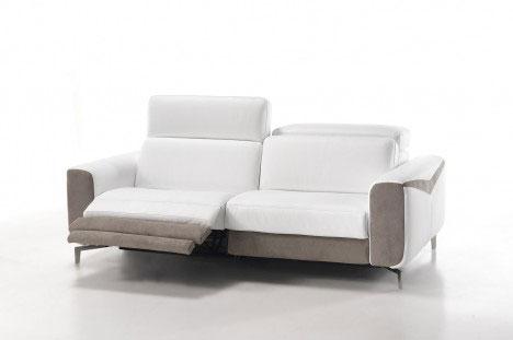 Divano Relax Elettrico Moderno in pelle bianca