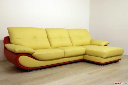 Divano in pelle moderno con penisola giallo e rosso