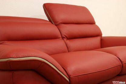 Divano con poggiatesta relax manuale in pelle rossa