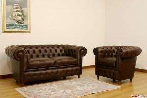Solotto Chesterfield con divano a 2 posti