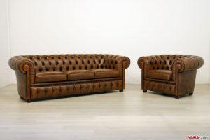 Salotto Chesterfield divano 3 posti con poltrona
