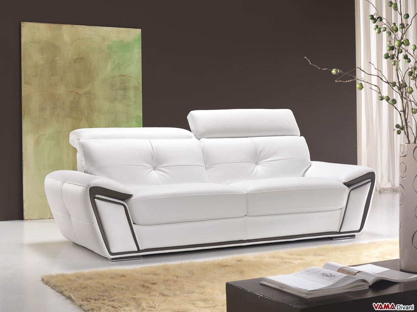 Divano poggiatesta reclinabile design casa creativa e - Divano bianco pelle ...