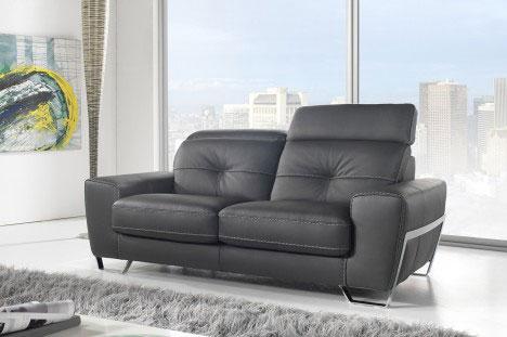 Divano nero in pelle moderno con poggiatesta reclinabili