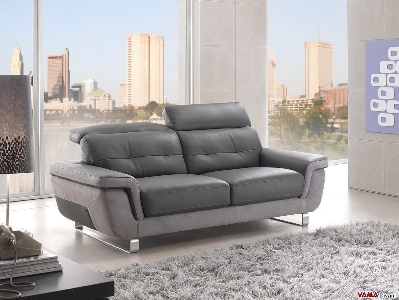 Divano moderno in pelle con poggiatesta reclinabili - Microfibra divano ...
