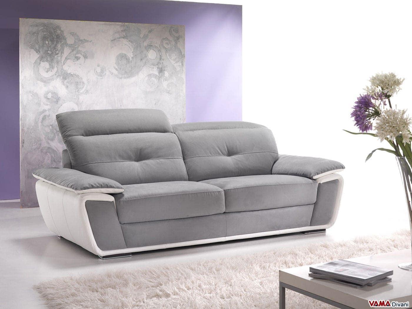 Divano con poggiatesta relax in pelle e microfibra - Microfibra divano ...