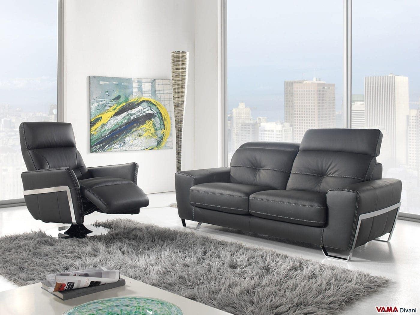 divano in pelle nera in stile moderno con poggiatesta relax - Divano In Pelle Nera Letto