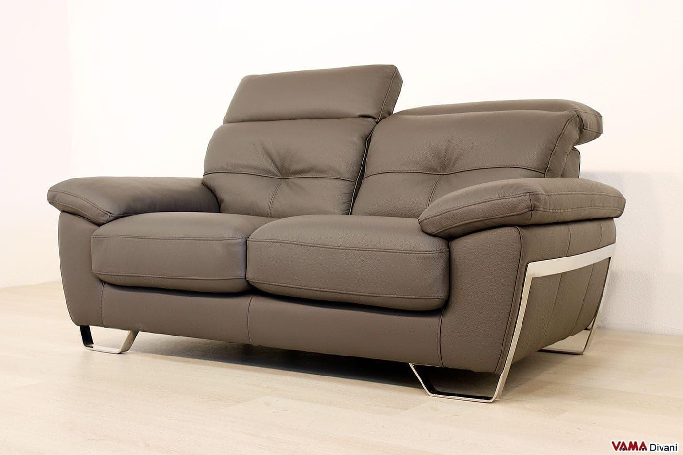 divano moderno in pelle 2 e 3 posti con poggiatesta relax