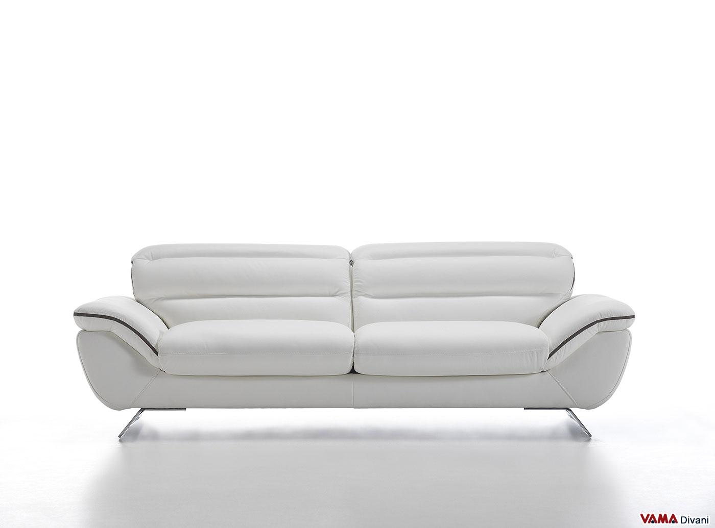 divano moderno bianco | in pelle con piedini in acciaio - Divano In Pelle Nera Letto