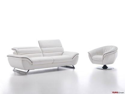 Salotto moderno bianco in pelle