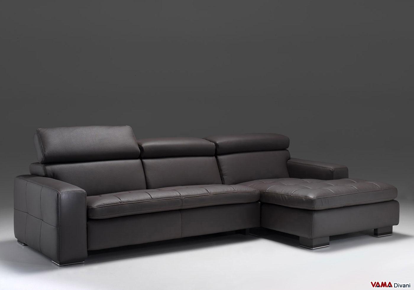 Divano moderno lineare kyoto vama divani for Divano in pelle con penisola