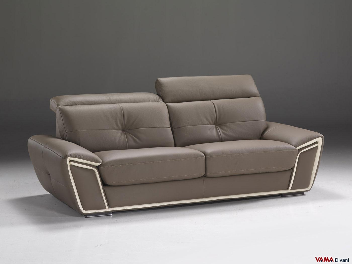 Divano moderno in pelle con poggiatesta regolabili - Copridivano per divano in pelle ...