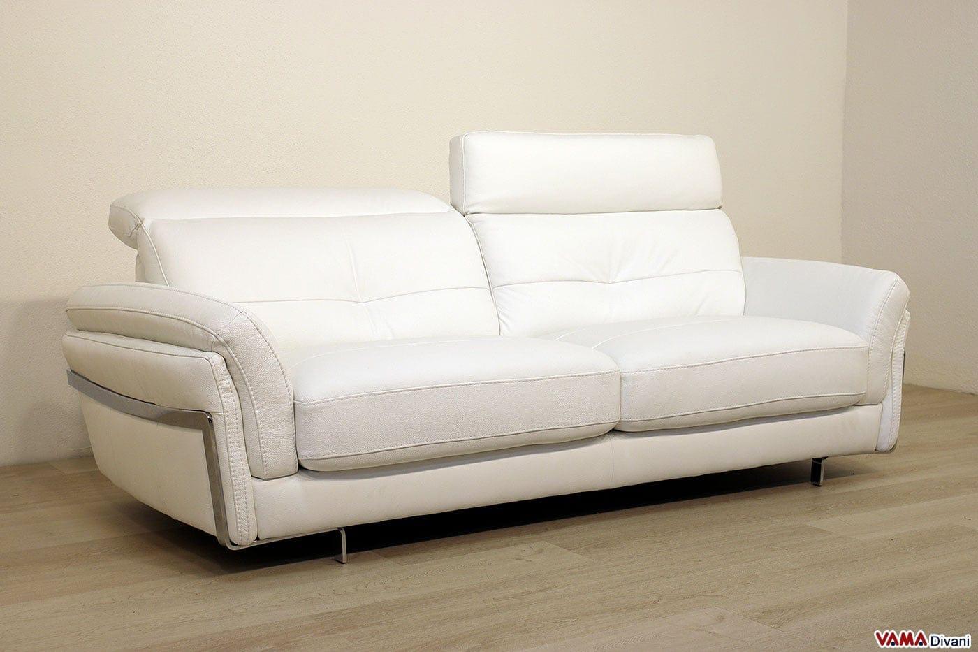 Divano in pelle moderno con poggiatesta per maggiore comfort - Divano in pelle bianco ...