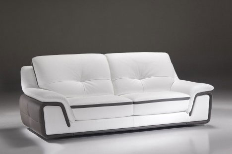 Divano moderno in pelle bianca di design