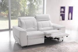 Divano reclinabile 2 posti in pelle bianca