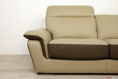 Seduta divano in pelle marrone chiaro e scuro