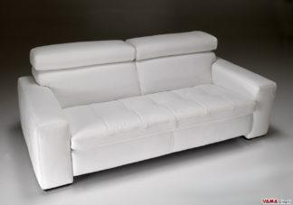 Divano moderno lineare bianco in pelle