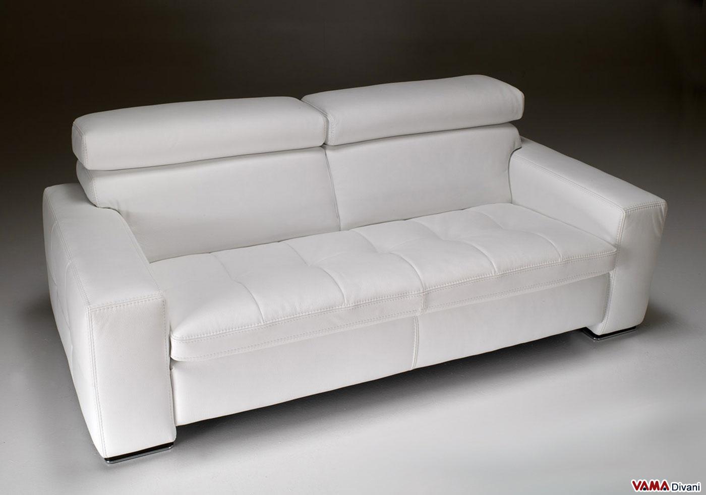 Divano moderno bianco squadrato in vera pelle - Divano bianco in pelle ...