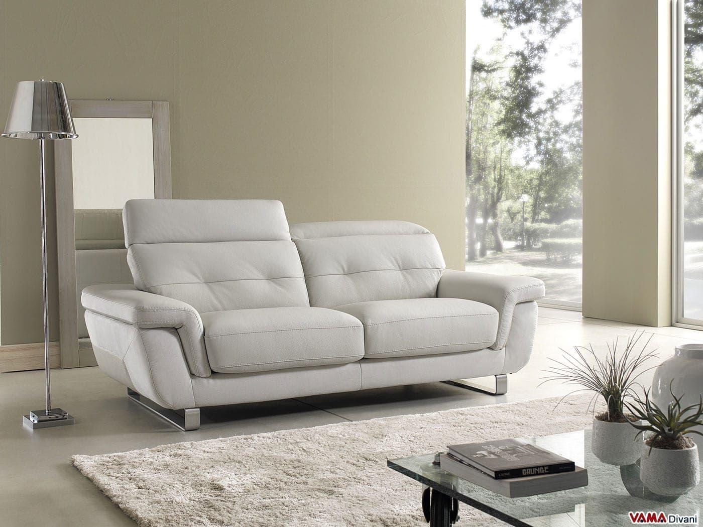Divano moderno in pelle con poggiatesta reclinabili - Divano bianco in pelle ...
