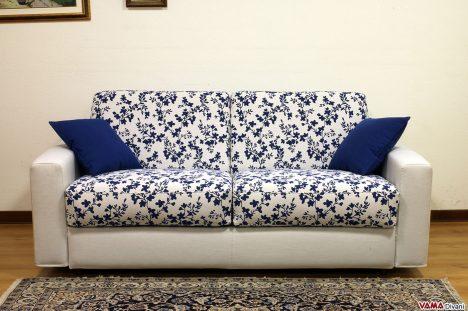Divano letto alla francese 140 cm in tessuto bianco a fiori blu
