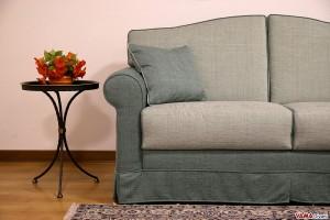 Divano letto classico in tessuto sfoderabile verde acqua