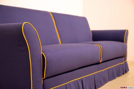 Divano letto sfoderabile in tessuto blu