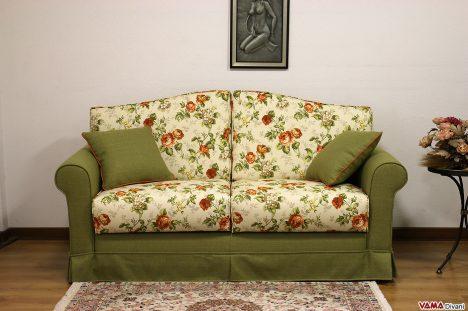 Divano letto in tessuto floreale in stile classico