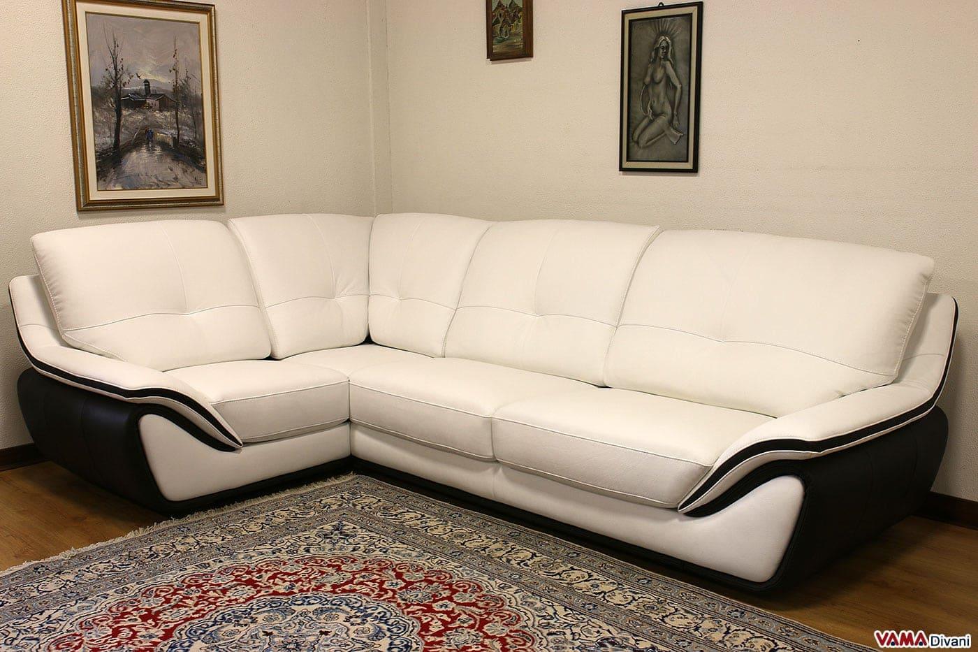 Divano in pelle moderno bianco schienale alto avvolgente for Divani ad angolo misure