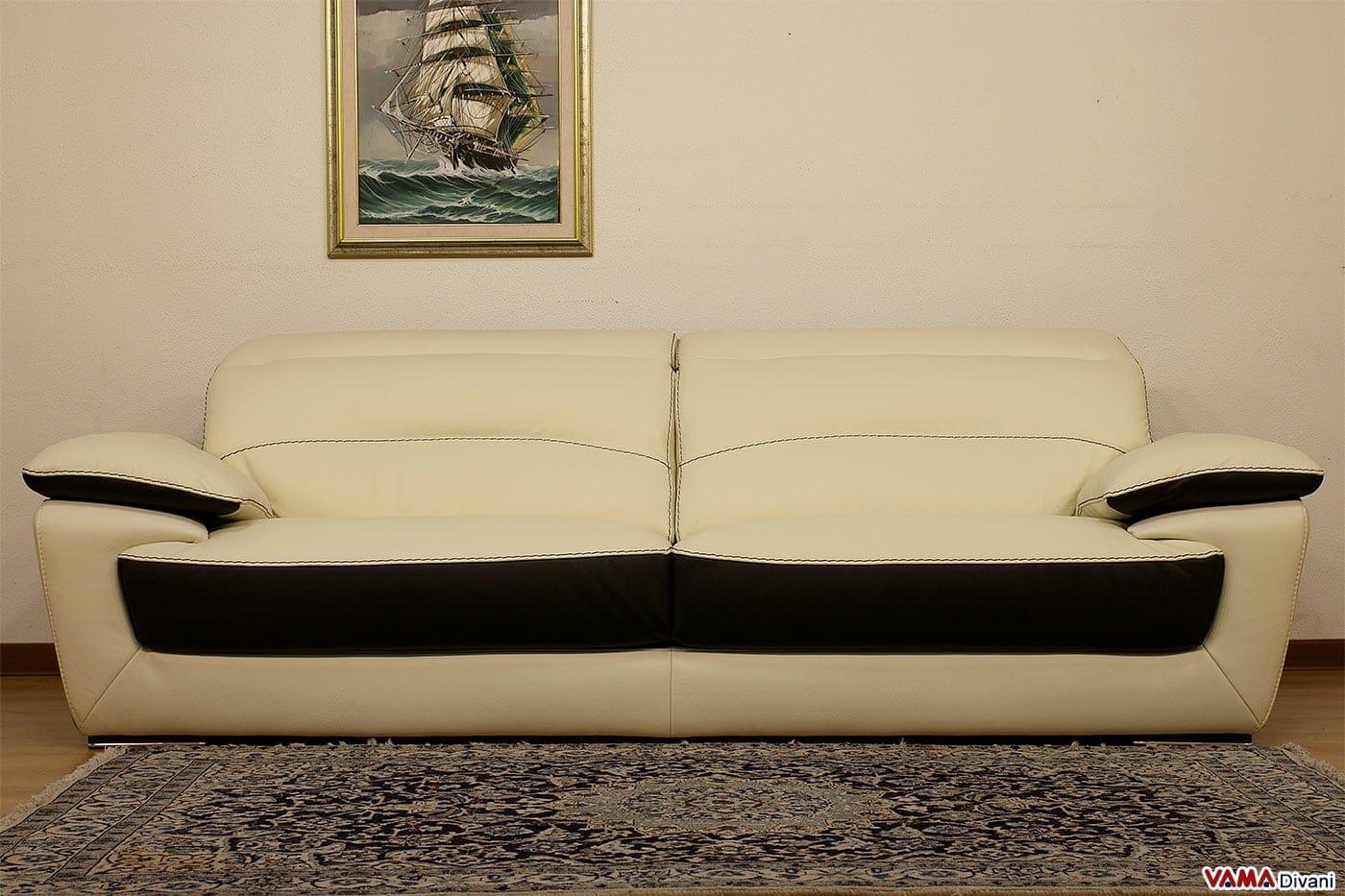 Divano Moderno in Pelle Bicolore con Poggiatesta Relax