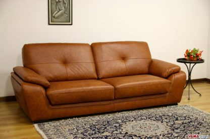 Divano moderno in pelle marrone vintage