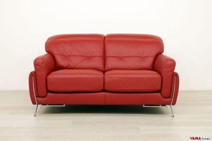 Divano di design 2 posti in pelle rossa