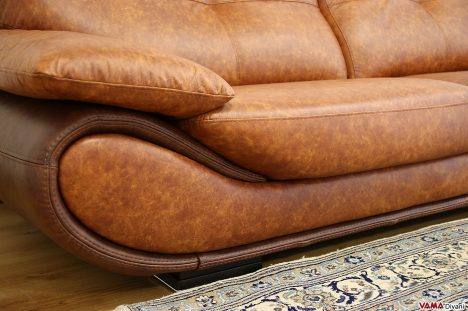 Divano moderno rivestito in pelle vintage marrone