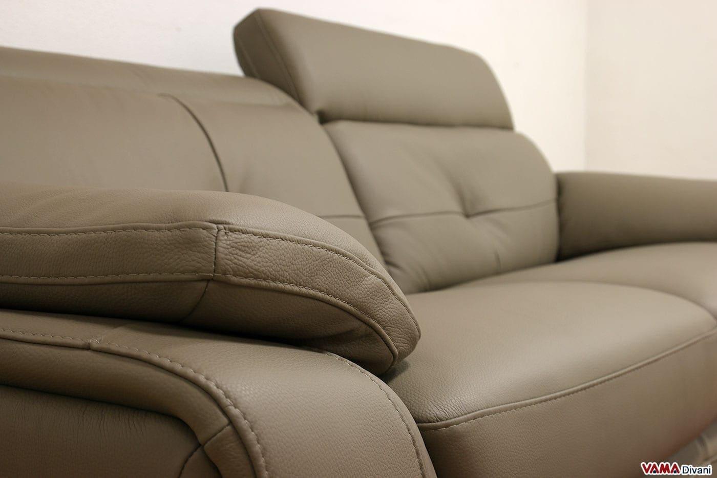 divano in pelle con angolo semitondo e poggiatesta reclinabili - Moderno Ampio Angolo Divano In Pelle A 5 Posti