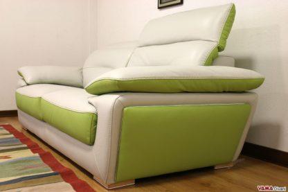 Divano moderno bicolore verde e grigio