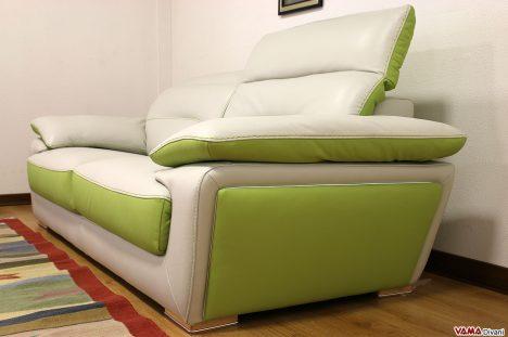 Divano moderno verde e bianco in pelle