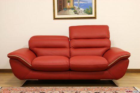 Divano rosso moderno in pelle con poggiatesta manuali