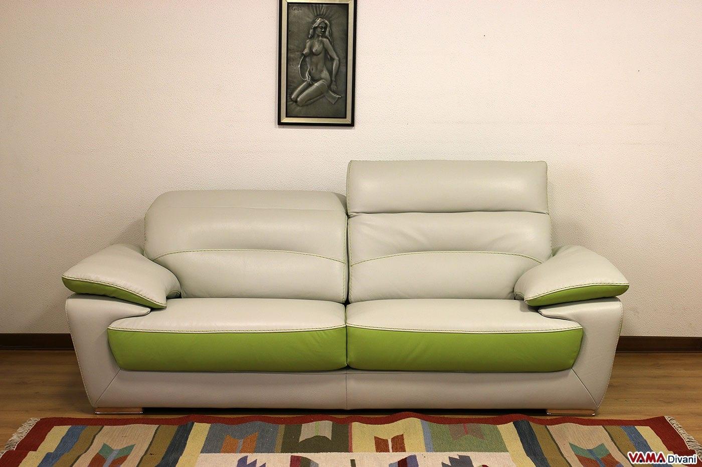 Divano moderno in pelle bicolore con poggiatesta relax - Divano bianco in pelle ...