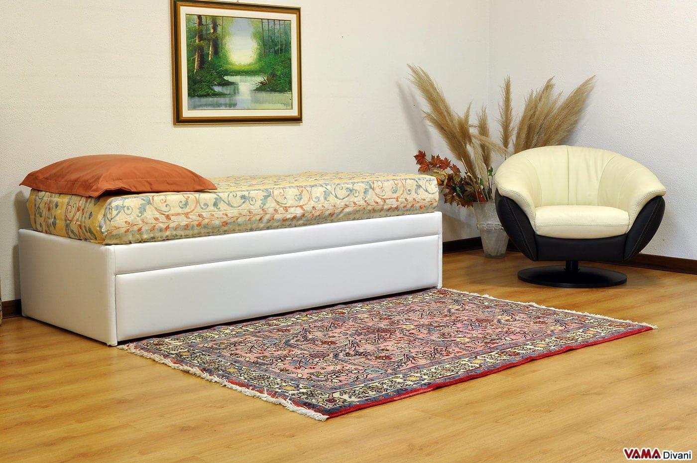 Letto singolo con letto estraibile con materassi alti 20 cm - Letto con letto estraibile ...