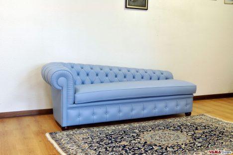 Divano Dormeuse Chester in Pelle Fiore color Azzurro