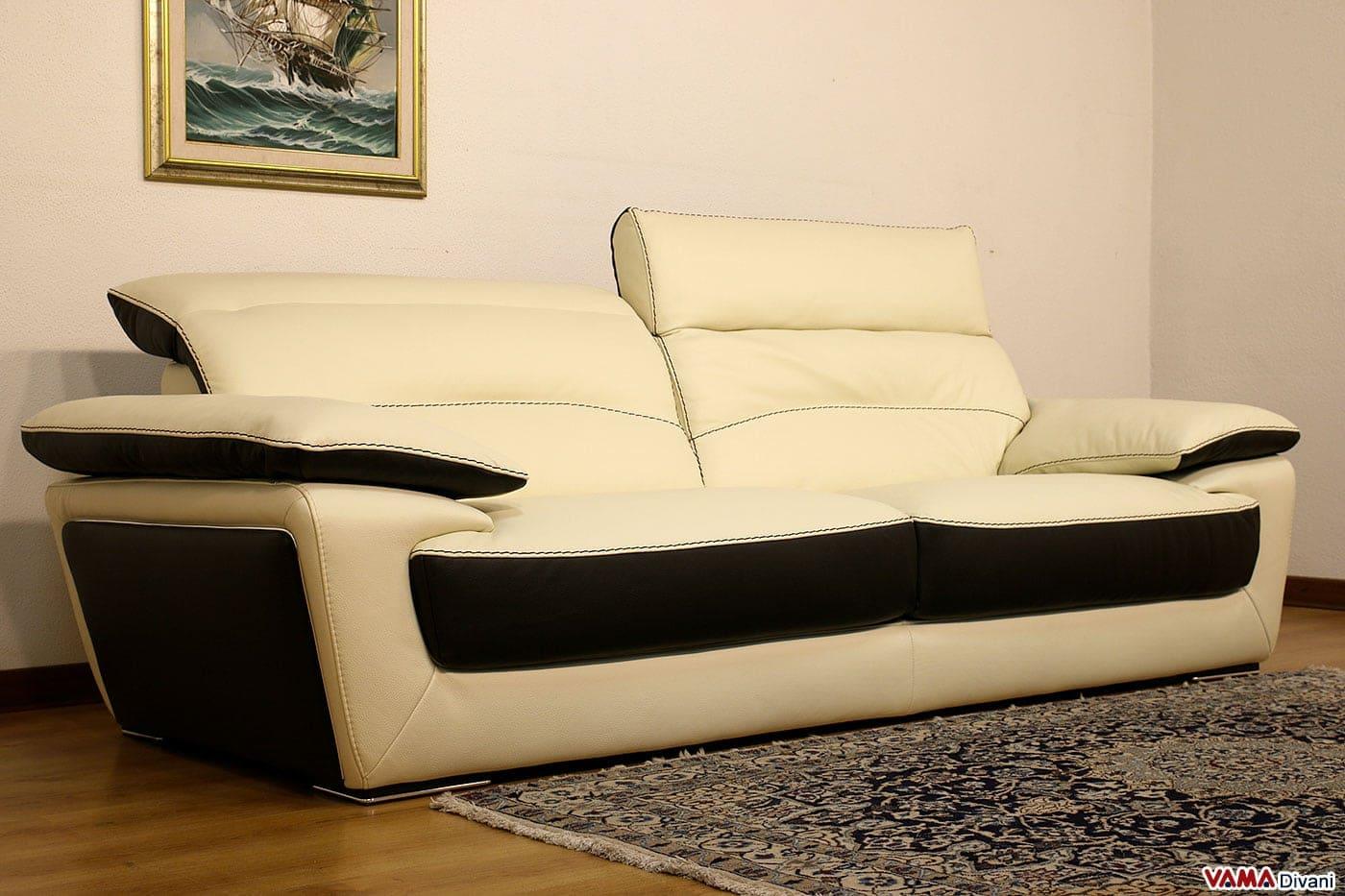 Divano moderno in pelle bicolore con poggiatesta relax - Divano in pelle moderno ...