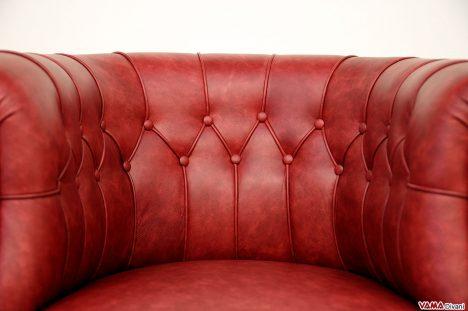 Poltroncina da camera da letto e ufficio imbottita in pelle rossa