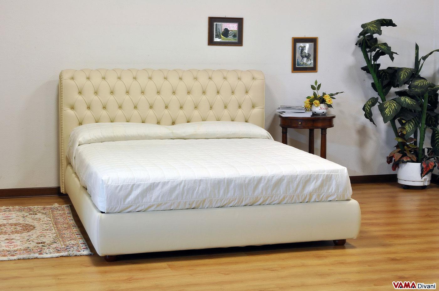 Letto chesterfield matrimoniale in pelle realizzabile su - Camere da letto in pelle ...