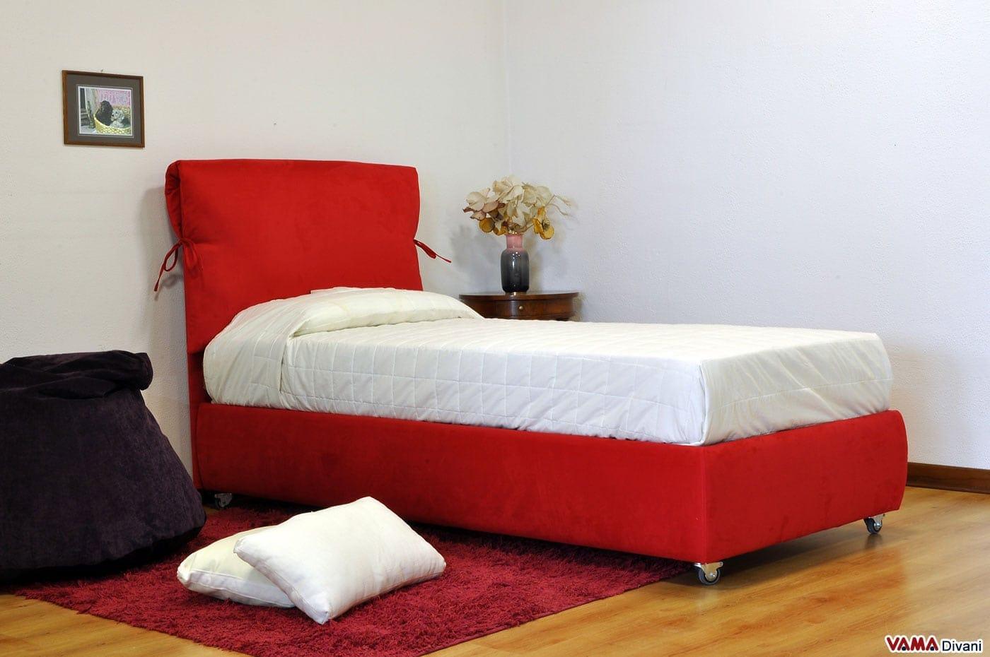 Letto singolo su misura in tessuto rosso con contenitore - Letto con contenitore ...