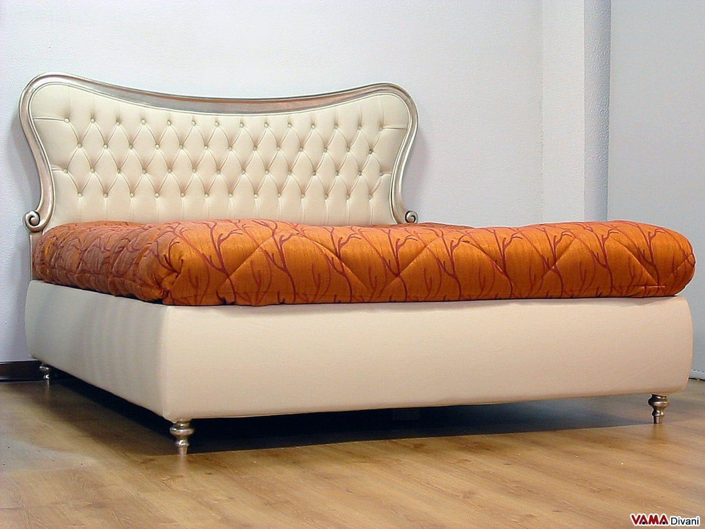 Letto matrimoniale in pelle con cornice in legno e capitonn - Dove comprare un letto matrimoniale ...