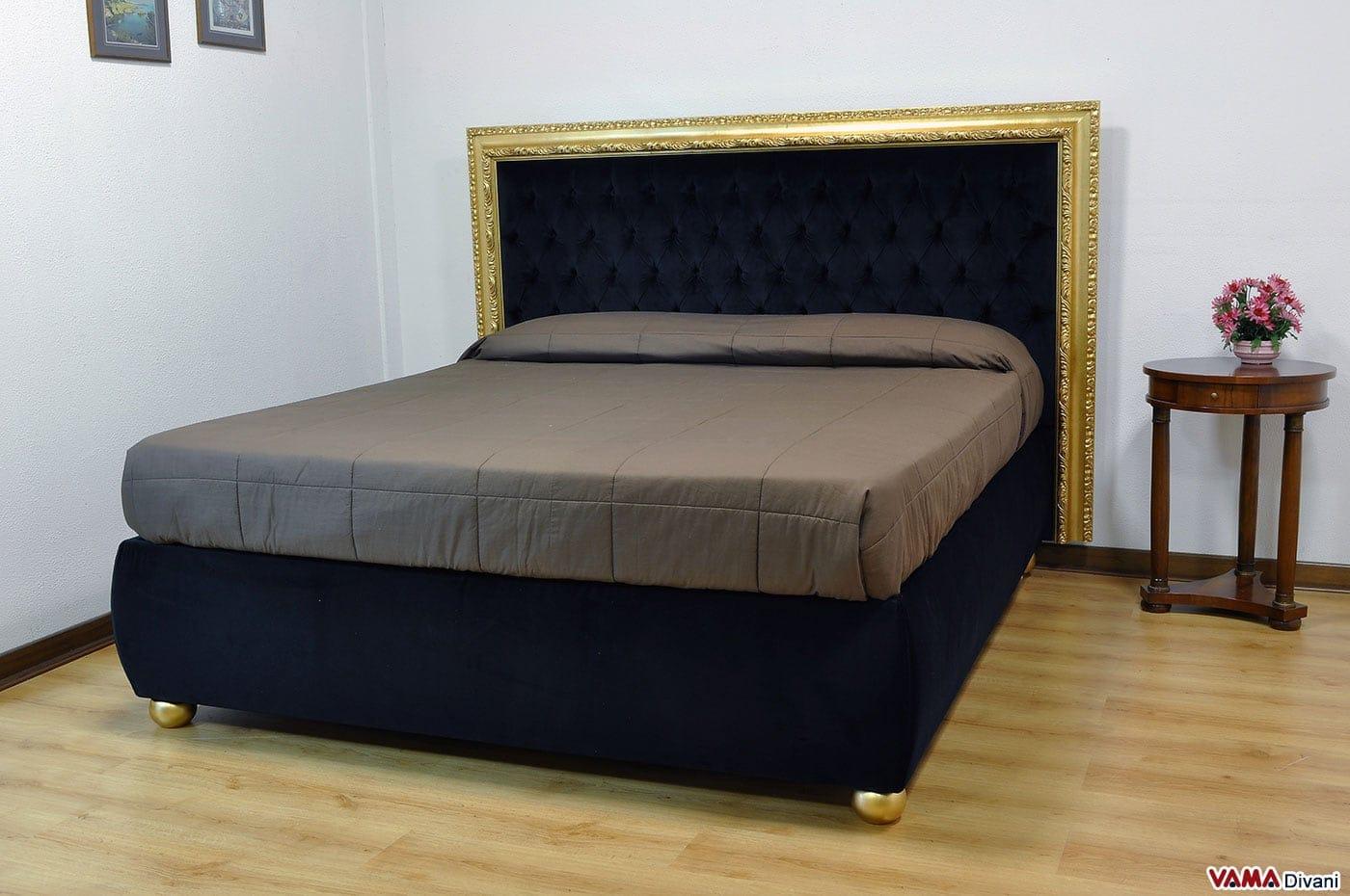 Letto matrimoniale di lusso in velluto con cornice foglia oro - Dove comprare un letto matrimoniale ...