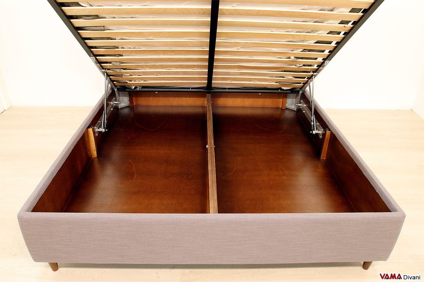 Letto con contenitore resistente in legno verniciato